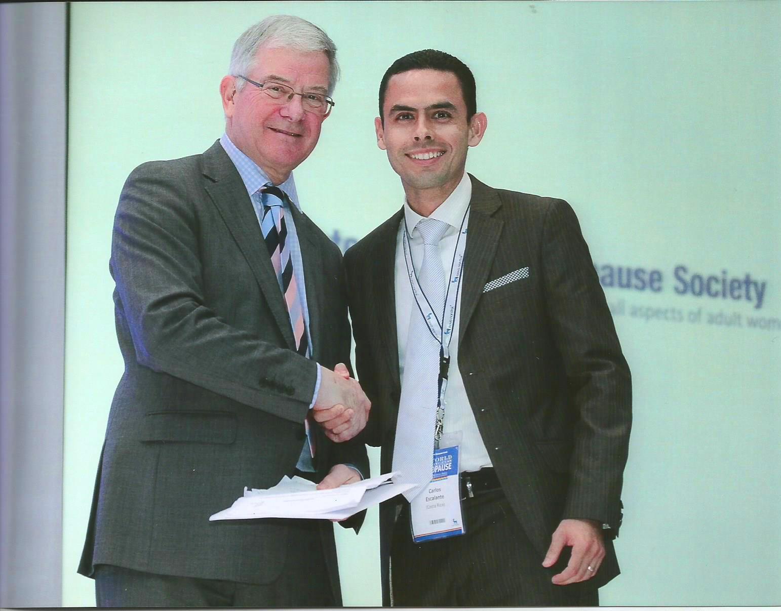 Premiación Mundial como Investigador Joven por la  International Menopause Society